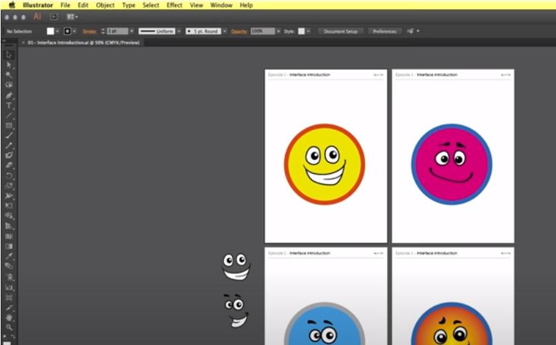 belajar adobe illustrator emoticon design